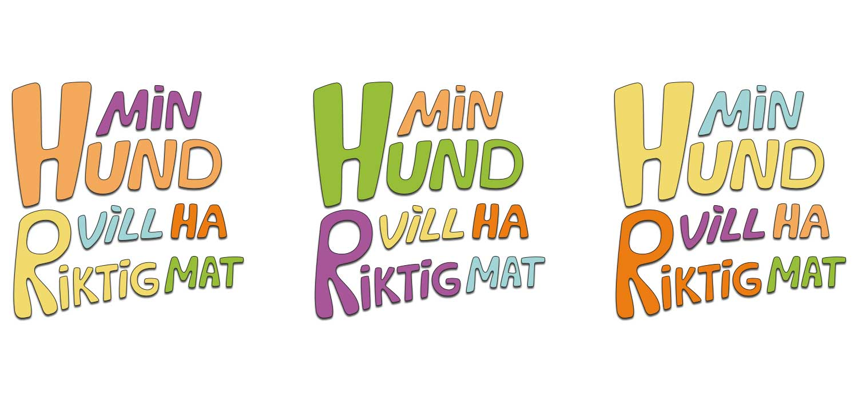 Logo för konceptet Min Hund Vill Ha Riktig Mat, i färg stående